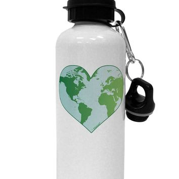 World Globe Heart Aluminum 600ml Water Bottle
