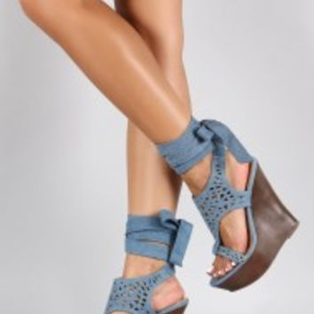 Bamboo Denim Leg Wrap Perforated Platform Wedge