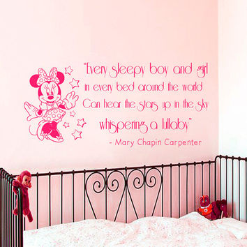 Wall Decal Quote Every Sleepy Boy And Girl Minnie Mouse Sticker Vinyl Decals Mural Home Bedroom Interior Design Baby Girl Nursery Decor KY59