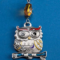 Decorative Owl Ceiling Fan Pull Chain Pewter Finish Colorful Glass Bead