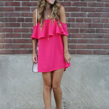 Pink Boat Neck Ruffle Loose Dress