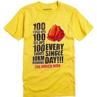 ANIME One Punch Man SAITAMA WORKOUT T-Shirt NWT 100% Authentic