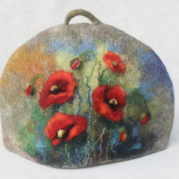 Felted Tea Cosy, grey teapot cozy,  teapot warmer  teapot cover,  wool felted coffee pot cosy red poppy natural wool exclusive gift under 50