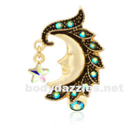 Golden Heavenly Moon Face Reverse Drop Top Belly Button Ring 14ga Navel Ring Body Jewelry