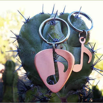 Copper couples keyring - guitar pick keyring and copper music note - his and hers keyring