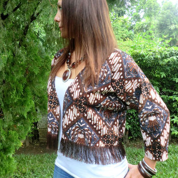Womens Short Kimono Jacket In Brown And Indigo Jogjakarta Batik With Fringe Hem - Ava - Ethical Clothing