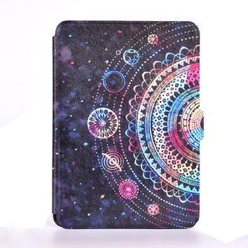 print pu leather cover case for amazon kindle paperwhite 1 2 3 6'' ultra thin case for kindle 6'' +screen protector+stylus
