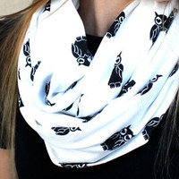 Owl Scarf, Infinity Scarf, Loop Scarf, Circle Scarf, Owls, Hearts, Cotton, White, Black