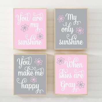 PINK GRAY You Are My Sunshine Wall Art Canvas or Prints Baby Girl Nursery Decor Song Rhyme Sunshine Quote Decor, Set of 4 Gift for Girl
