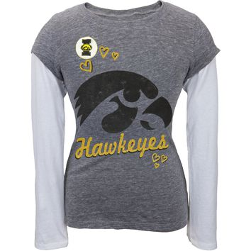 Iowa Hawkeyes - Glitter Hearts Logo Girls Juvy Soft 2fer - Juvy
