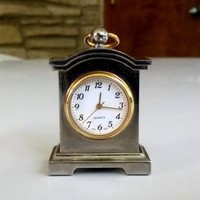 Vintage Wallace Quartz Mini Miniature Clock Watch Silver Gold