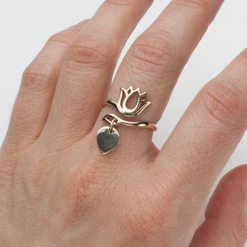 Gold Lotus Flower Ring - Bronze . Yoga Jewelry . Adjustable Ring . Zen, Minimal Jewelry, Gift