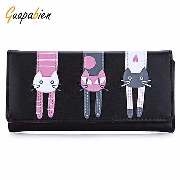 Guapabien 2016 Kawaii Cats Print Women Leather Long Clutch Wallet Cartoon Envelope Women Wallet Girl Card Holder coin purses