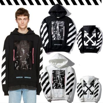 OFF-WHITE Pink striped velvet hooded sweater men and women fashion hoodie jacket