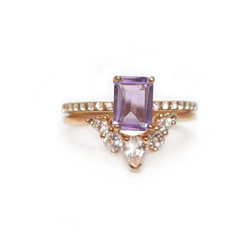 Lilac Quartz & Topaz Miss Perfect Ring Stack
