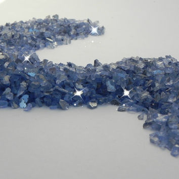 Glass Chips Blue Small - Terrarium - Beach Scene - Fairy Garden - river brook stream - 8 ounces - beach fairy garden decorative stone supply