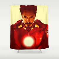 Tony Stark/ Iron Man/ Robert Downey Jr. Shower Curtain by Hands in the Sky