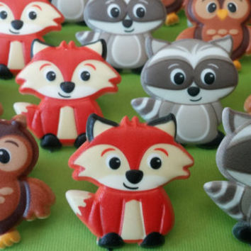 24 FOX ONLY Woodland Creature cupcake cake topper rings party favors goodie bags birthday wedding baby shower fox camp camping glamping