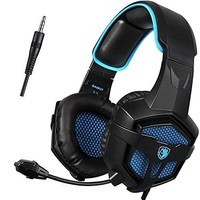 SADES SA807 3.5mm Wired Multi-Platform Stero Sound Gaming Headset Over Ear Gaming Headphones with Mic Volume control for New Xbox one/PS4/PC/Laptop/Mac/iPad/iPod (Black&Blue)
