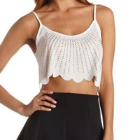 Studded & Scalloped Crop Top by Charlotte Russe