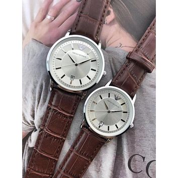 PEAP A0029 Armani Emporio Lovers Leather Watchaband Watches Maroon White