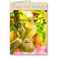 Happy 30th Birthday Painted House Wren Greeting Card