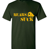 Bears Suck Green Bay Fans Printed Funny T Shirt Football Funny Packers Parody T Shirt Men Womans Kids Youth Tee