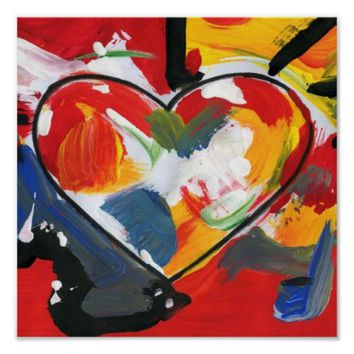 Abstract art painting Heart Poster