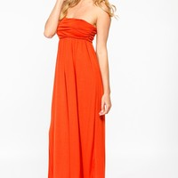 Orange Ruched Strapless Maxi @ Cicihot sexy dresses,sexy dress,prom dress,summer dress,spring dress,prom gowns,teens dresses,sexy party wear,women's cocktail dresses,ball dresses