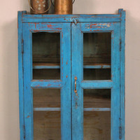 Reserved for Quavin Vintage Distressed Bright Blue Painted Indian Glass Storage Cabinet Curio