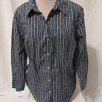 Talbots  Blouse Shirt Women's Large Stretch Button Front 3/4 Sleeves