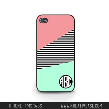 Monogrammed iPhone Case, iPhone 4, iPhone 4S, Color Block Coral Mint iPhone Case, Personalized iPhone Cover - K153