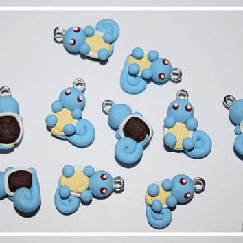 Squirtle Earrings/Necklace Starter Pokemon, Polymer Clay Handmade, Cute, Gift