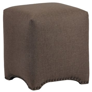 Dark Brown Linen Square Upholstered Footstool Ottoman