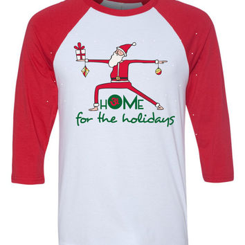 hOMe for the holidays santa yoga baseball tee