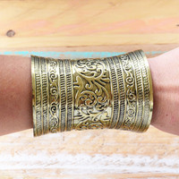 HUGE ➳ GOLD ETHNIC CUFF BRACELET