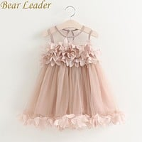 Girls Dress New Summer Mesh Girls Clothes Pink Applique Princess Dress Children Summer Clothes Baby Girls Dress
