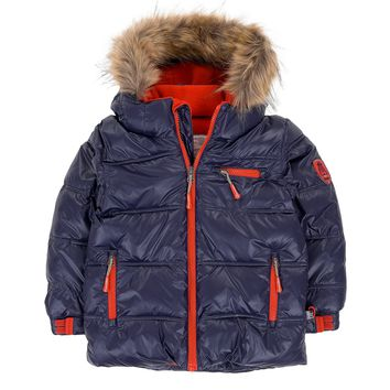 Deux Par Deux Fluffy Puffy Boys Jacket Navy Blue with Fur Trim