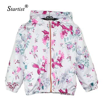 2017 Spring Baby Coat And Jacket For Girls Cartoon Fox Graffiti Hooded Windbreaker For Girls Full Sleeve Toddler Outerwear