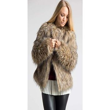 838aa0902899 Shop Tan Faux Fur Coat on Wanelo