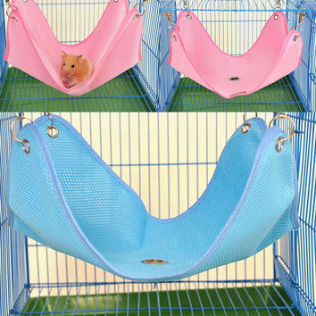 Pet Dog Cat Bed Net Cloth House Dot Cage Polyester Hanging Hammock Mat Rat Ferret Hamster Mouse Blue Pink for Small Pet NG4S