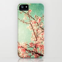Pink Autumn Leafs on Blue Textured Sky (Vintage Nature Photography) iPhone & iPod Case by Andrea Caroline