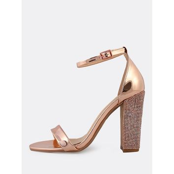 Metallic Ankle Strap Rhinestone Studded Heels ROSE GOLD