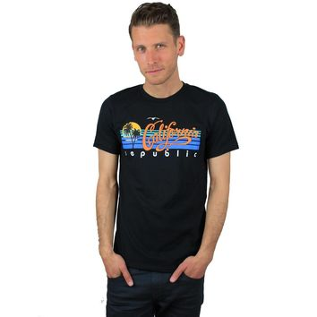 California Republic Palm Trees Asst Colors Mens Lightweight Fitted T-Shirt/tee