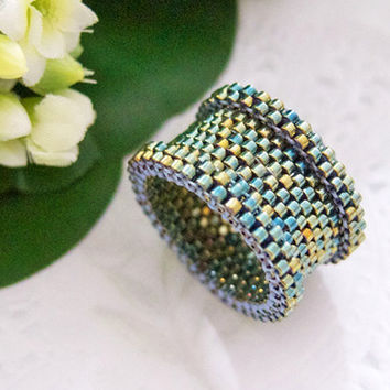 Green Beaded Statement Ring in Barrel Style by JeannieRichard