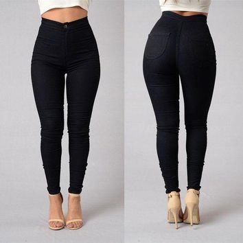 DCCKWJ7 Women's Pencil Stretch Denim Skinny Jeans Casual Pants High Waist Slim Fit Stretchable Long Trousers 5 Solid Colors Available