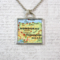 Honduras Map Double Sided Pendant Necklace