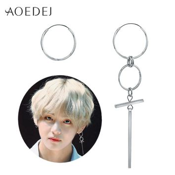 AOEDEJ V BTS Earrings DNA Korean Earrings Long Men Bangtan Boys V DNA Stud Earring For Women Men BTS Album Accessories BTS Kpop