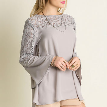 Lace Trim Bell Sleeve Top - Silver