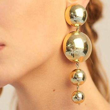 Drop The Ball Gold Four Large Dangling Sphere Earrings
